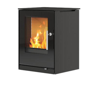 Rais Q-Tee Wall Mounted Wood Stove Black Black Glass Framed Door