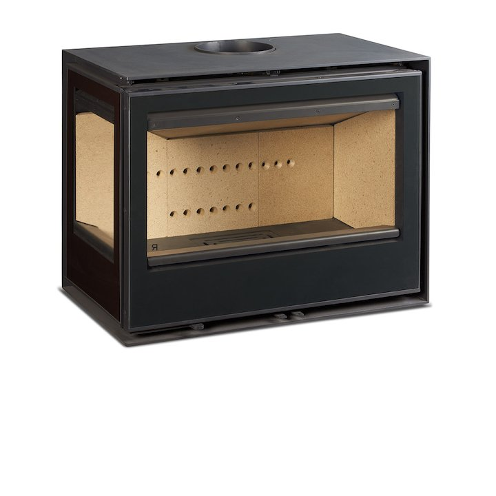 Rocal Habit 76 Wall Mounted Wood Stove Black Left Side Glass - Black