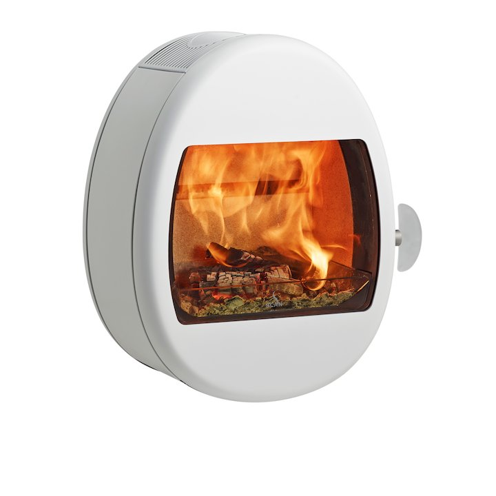 Scan 66-1 Wall Mounted Wood Stove - Enamel White