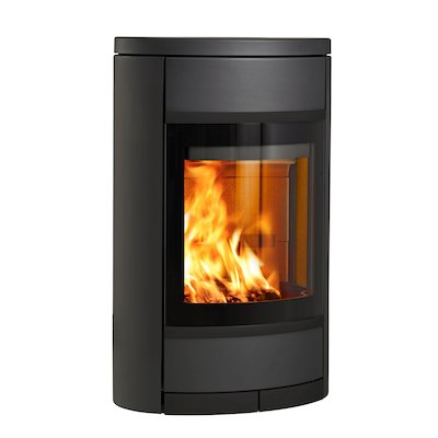 Scan 68 Wall Mounted Wood Stove Black Solid Sides Black Trim