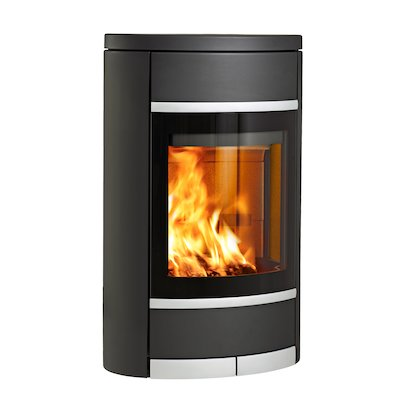 Scan 68 Wall Mounted Wood Stove Black Solid Sides Silver Trim