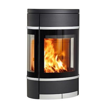 Scan 68 Wall Mounted Wood Stove Black Side Glass Windows Silver Trim