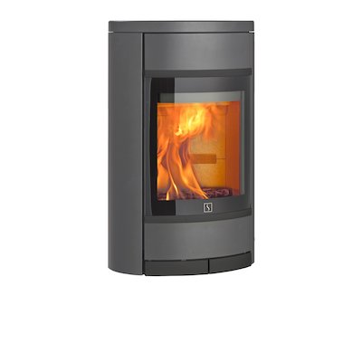 Scan 68 Wall Mounted Wood Stove Grey Solid Sides Black Trim