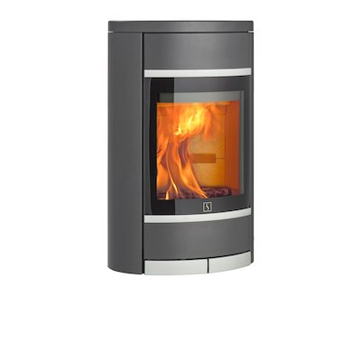 Scan 68 Wall Mounted Wood Stove Grey Solid Sides Silver Trim