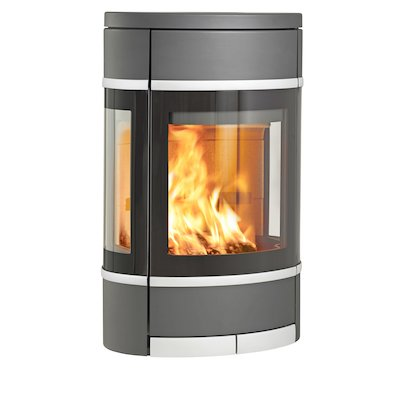 Scan 68 Wall Mounted Wood Stove Grey Side Glass Windows Silver Trim