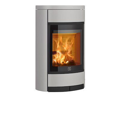 Scan 68 Wall Mounted Wood Stove Silver Solid Sides Black Trim