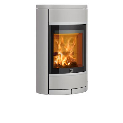 Scan 68 Wall Mounted Wood Stove Silver Solid Sides Silver Trim