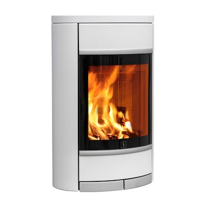 Scan 68 Wall Mounted Wood Stove White Solid Sides Silver Trim