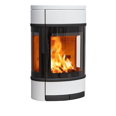 Scan 68 Wall Mounted Wood Stove White Side Glass Windows Black Trim