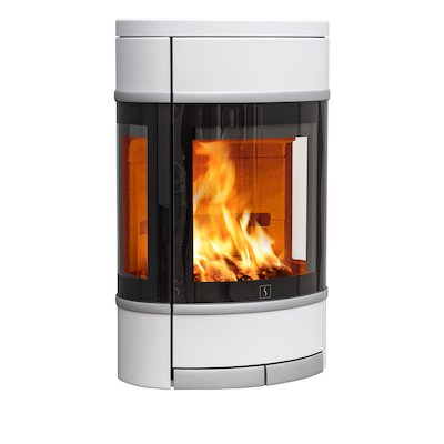 Scan 68 Wall Mounted Wood Stove White Side Glass Windows Silver Trim