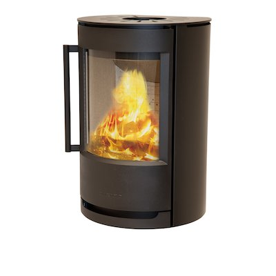 Wiking Luma Wall Mounted Wood Stove Black Solid Sides