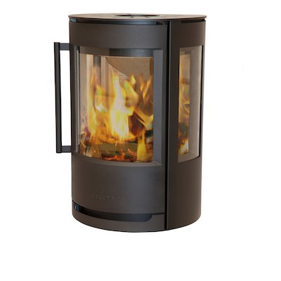 Wiking Luma Wall Mounted Wood Stove Black Side Glass Windows