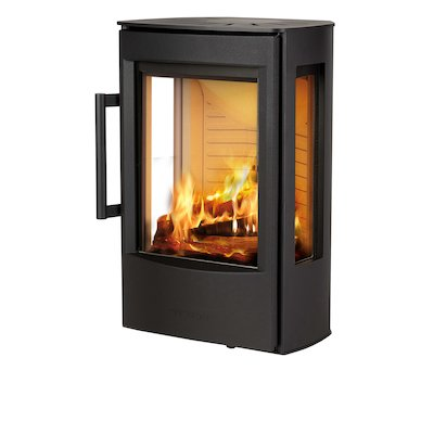 Wiking Miro Wall Mounted Wood Stove Black Side Glass Windows