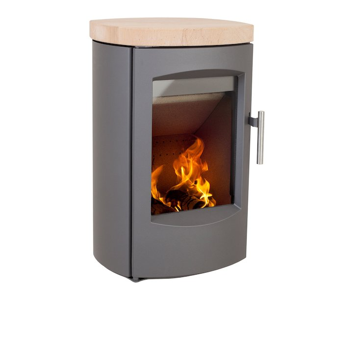 Heta Scanline 7C Wall Mounted Multifuel Stove Grey Sandstone Top Plate - Grey