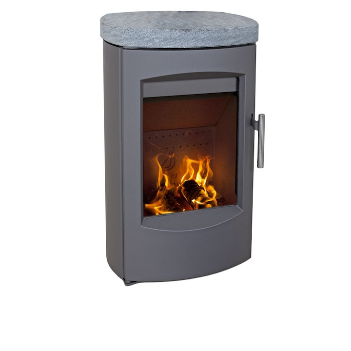 Heta Scanline 7C Wall Mounted Multifuel Stove Grey Soapstone Top Plate - Grey