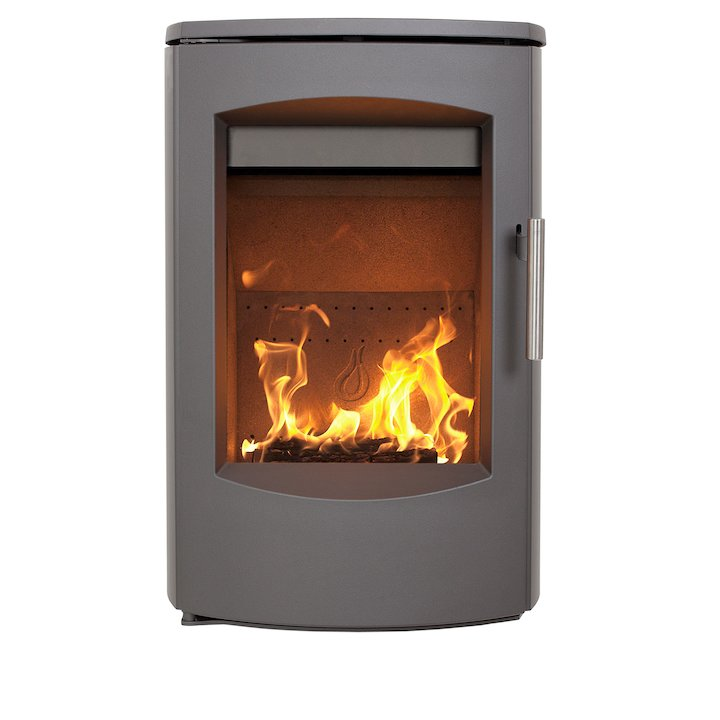 Heta Scanline 7C Wall Mounted Multifuel Stove Grey Steel Top Plate - Grey
