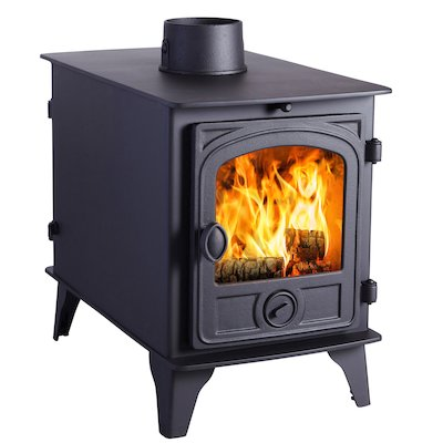 Hunter Hawk 4 Double Sided Wood Stove - Double Depth Black Contemporary Door