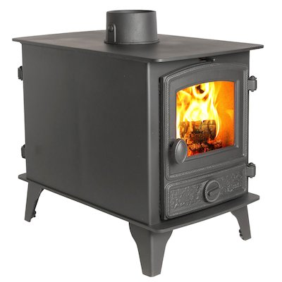Hunter Hawk 4 Double Sided Wood Stove - Double Depth Black Rope Effect Door