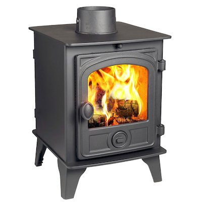 Hunter Hawk 4 Double Sided Wood Stove Black Contemporary Door
