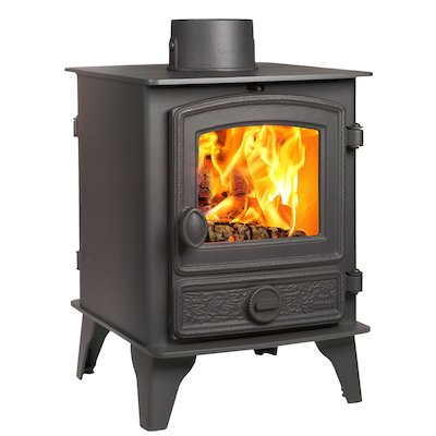 Hunter Hawk 4 Double Sided Wood Stove Black Rope Effect Door