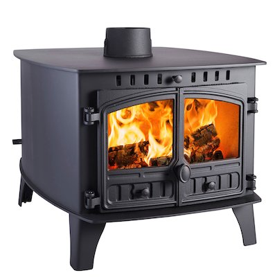 Hunter Herald 14 Double Sided FT Wood Stove - Double Depth Black Double Doors