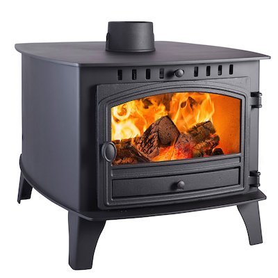 Hunter Herald 14 Double Sided FT Wood Stove - Double Depth Black Single Door