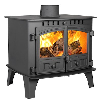 Hunter Herald 14 Double Sided FT Wood Stove Black Double Doors