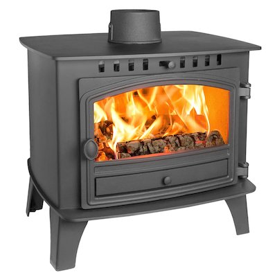 Hunter Herald 14 Double Sided FT Wood Stove Black Single Door