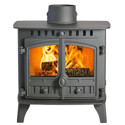 Hunter Herald 6 Double Sided FT Wood Stove - Double Depth Black Double Doors