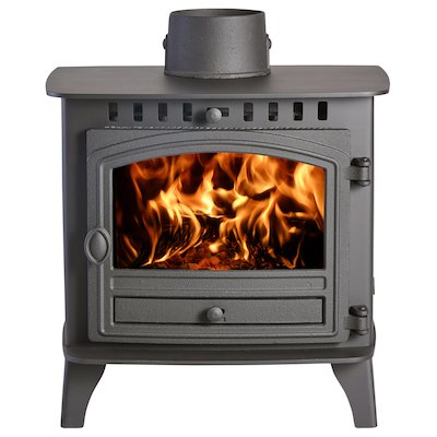 Hunter Herald 6 Double Sided FT Wood Stove - Double Depth Black Single Door