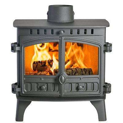 Hunter Herald 8 Double Sided FT Wood Stove Black Double Doors