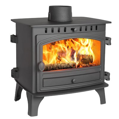 Hunter Herald 8 Double Sided FT Wood Stove Black Single Door
