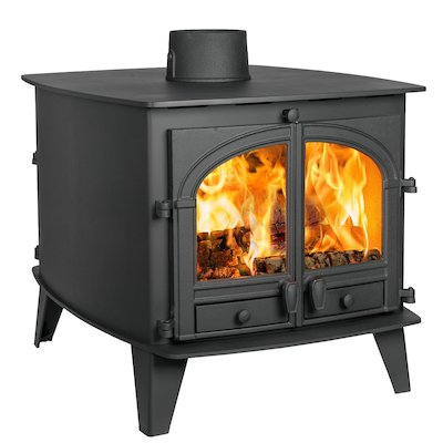 Parkray Consort 9 Double Sided Wood Stove - Double Depth Black Double Doors