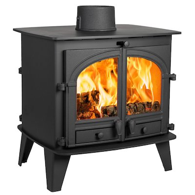 Parkray Consort 9 Double Sided Wood Stove Black Double Doors
