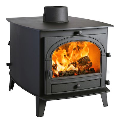 Parkray Consort 7 Double Sided Wood Stove - Double Depth Black Double Doors