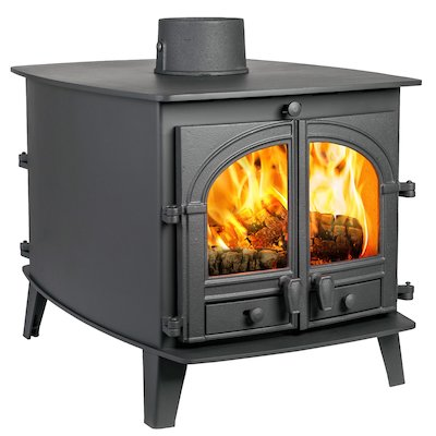 Parkray Consort 7 Double Sided Wood Stove - Double Depth Black Single Door