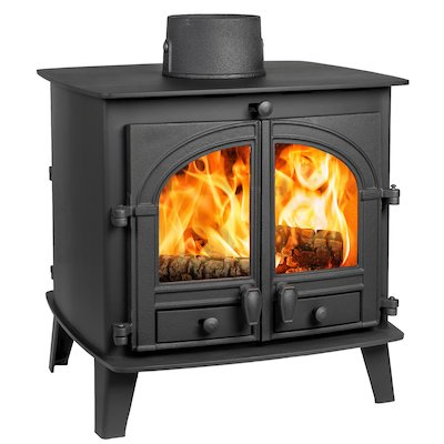 Parkray Consort 7 Double Sided Wood Stove Black Double Doors