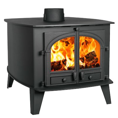Parkray Consort 15 Double Sided Wood Stove - Double Depth Black Double Doors