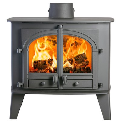 Parkray Consort 15 Double Sided Wood Stove Black Double Doors