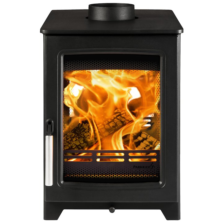 Parkray Aspect 4 Double Sided Wood Stove - Double Depth Black Silver Handles - Black