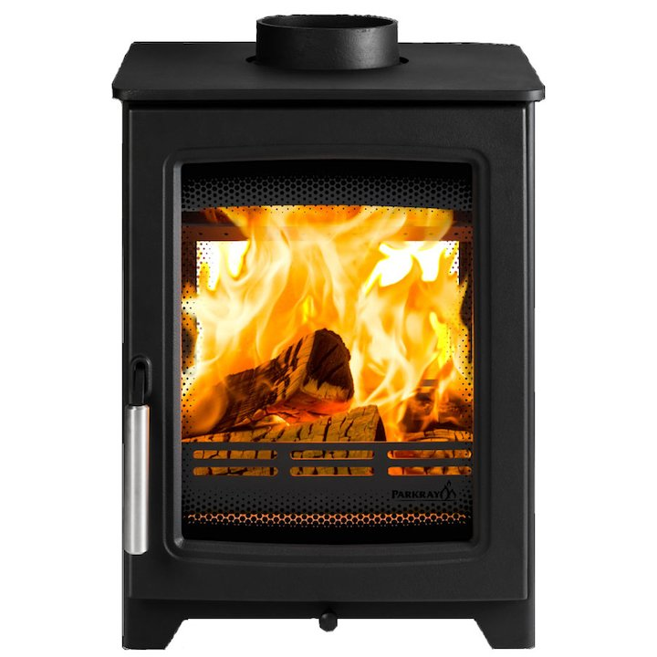 Parkray Aspect 4 Double Sided Wood Stove Black Silver Handles - Black