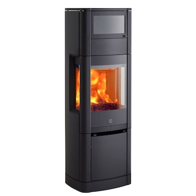 Scan 65 High Top Wood Cooking Stove - With Oven Black Side Glass Windows