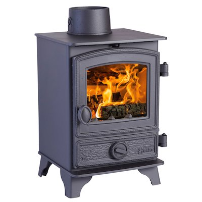 Hunter Hawk 3 Multifuel Stove Black Rope Effect Door