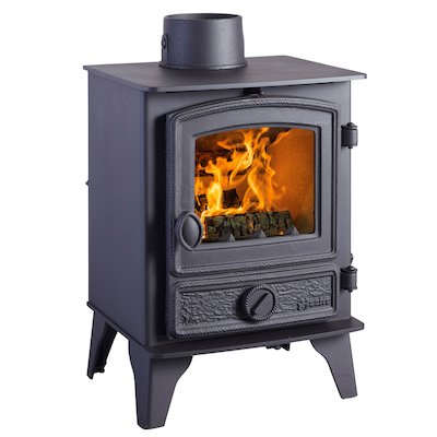 Hunter Hawk 4 Multifuel Stove Black Rope Effect Door