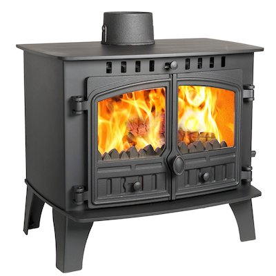 Hunter Herald 14 Multifuel Stove Black Double Doors