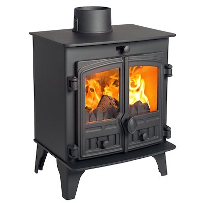 Hunter Herald 5 Compact Multifuel Stove Black Double Doors