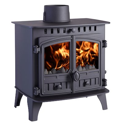 Hunter Herald 6 Multifuel Stove Black Double Doors