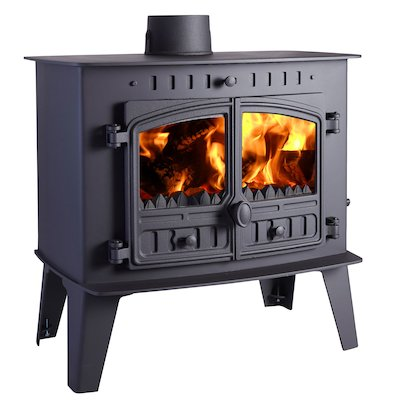 Hunter Herald Inglenook High Multifuel Stove Black Double Doors