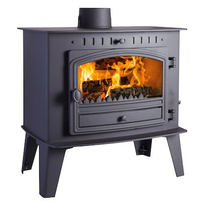 Hunter Herald Inglenook High Multifuel Stove Black Single Door