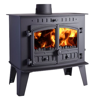 Hunter Herald Inglenook Low Multifuel Stove Black Double Doors